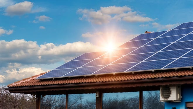Home with large solar installation.