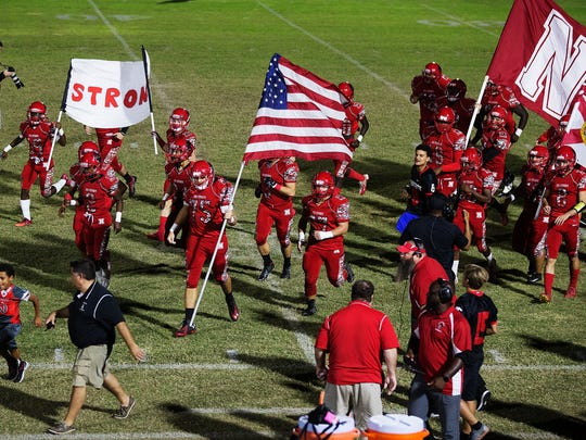 Game action between North Fort Myers High School and Cape Coral on Friday at North Fort Myers High School. North beat Cape 41-0.