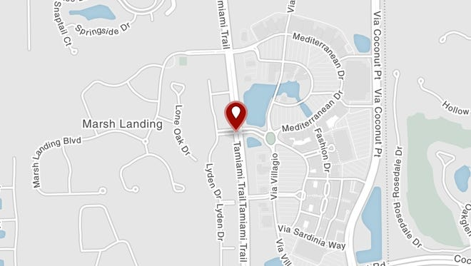 Two southbound lanes are closed at Village Shops Way (Coconut Point main entrance) and US 41 in Bonita Springs due to a crash.