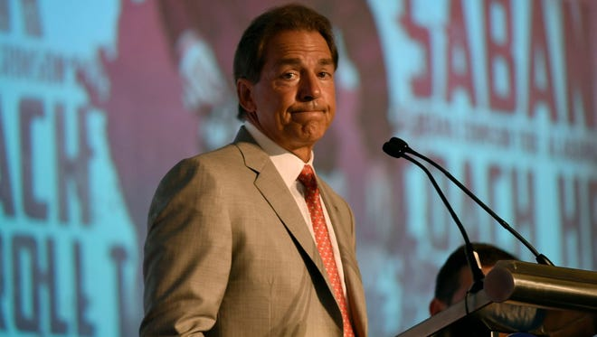 Alabama head coach Nick Saban became agitated when a reporter tried to play down the MTSU matchuo.