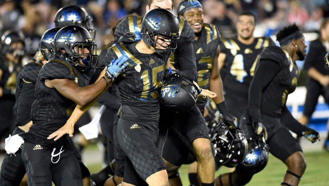 UCLA Bruins place kicker Ka'imi Fairbairn (15) celebrates making a sixty-yard field goal against the California Golden Bears  during the second quarter at Rose Bowl.