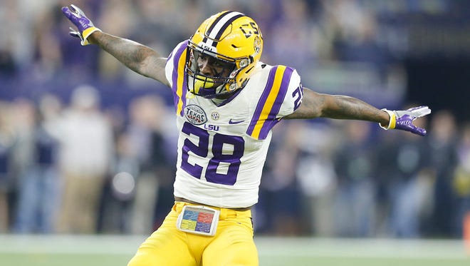 Jalen Mills (28) reacts after making a play against Texas Tech last December.