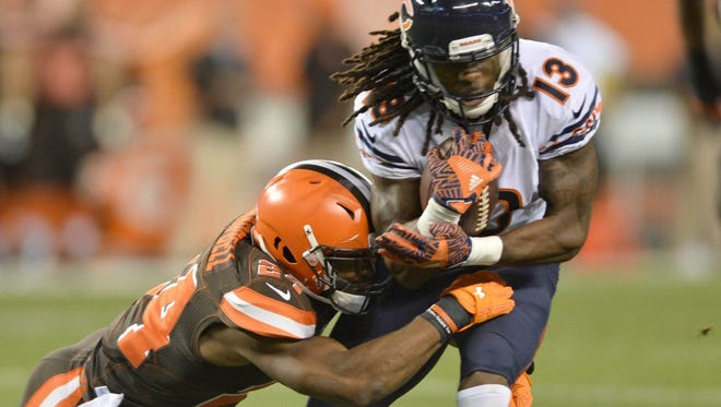 Bears wide receiver Kevin White, shown during a preseason game, had three receptions for 34 yards last Sunday in his NFL debut after being the No. 7 pick in the 2015 draft.