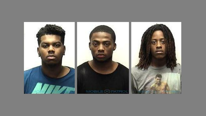 Brian Williams, Matthew Glass and Brian Henderson were arrested with stolen credit cards, Clarksville Police said.