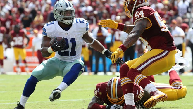 Cowboys rookie running back Ezekiel Elliott leads the NFL in rushing with 703 yards.