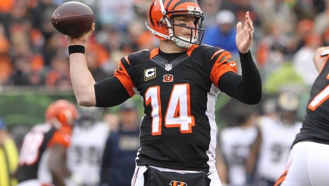 Bengals quarterback Andy Dalton has thrown for 3,043 yards so far this season.
