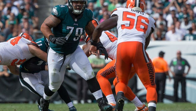 Eagles guard Brandon Brooks (79), shown vs. Cleveland on Sept. 11, has missed two of the last three games with an illness.
