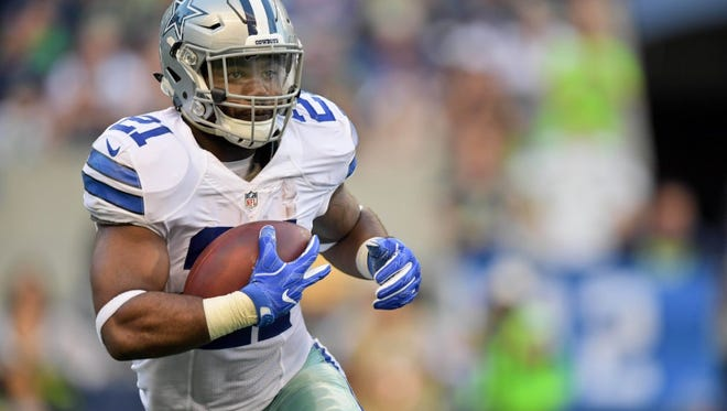 Cowboys running back Ezekiel Elliott needs 178 yards rushing against the Eagles in order to set the NFL rookie rushing record.