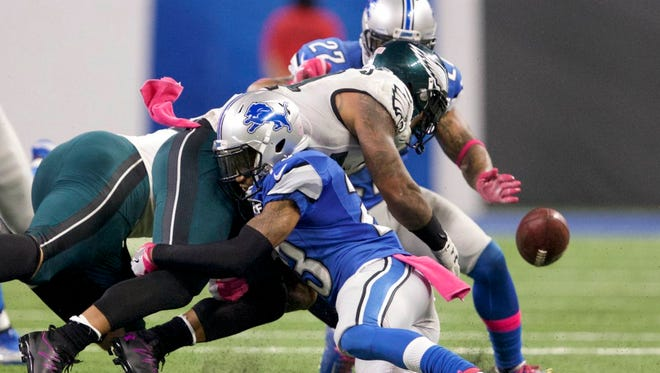 Eagles running back Ryan Mathews fumbles the ball away in the final minutes against the Detroit Lions on Oct. 9. The Eagles lost 24-23.
