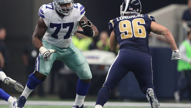 Cowboys quarterback Dak Prescott was sacked eight times last Sunday without star left tackle Tyron Smith, who could sit out again against the Eagles this Sunday.