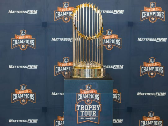 The Houston Astros 2017 World Series trophy on display