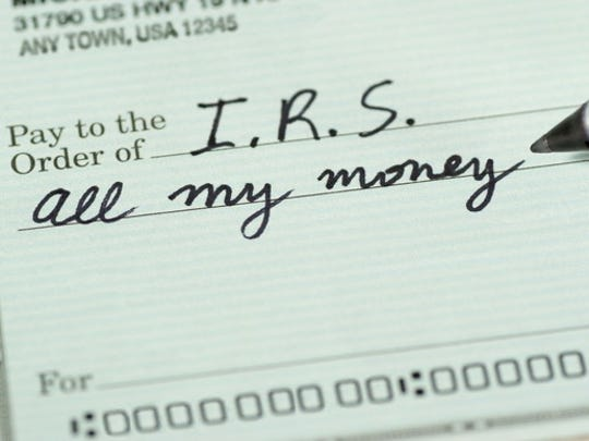 "A check being written to the IRS for ""all my money"""