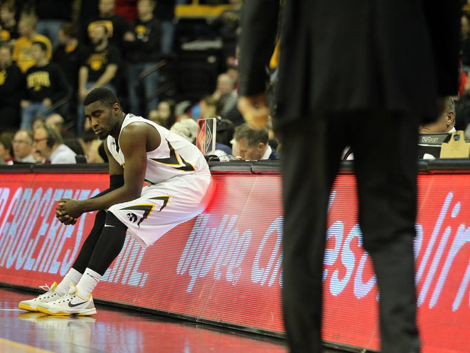 Iowa's Anthony Clemmons waits to enter the game during