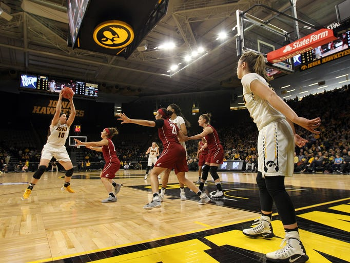 Iowa's Megan Gustafson takes a pass during the Hawkeyes'