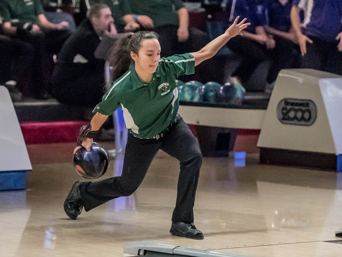 Pennfield's Haley Hopper during the All-City Bowling