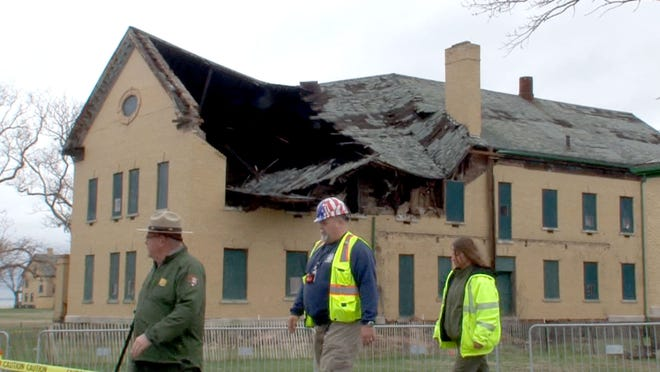 The roof of Building 23 at Fort Hancock at Sandy Hook is shown Friday after it collapsed overnight.