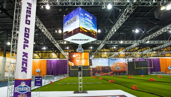 The Field Goal Kick station at the NFL Experience in the Phoenix Convention Center on Friday, Jan. 23, 2015.