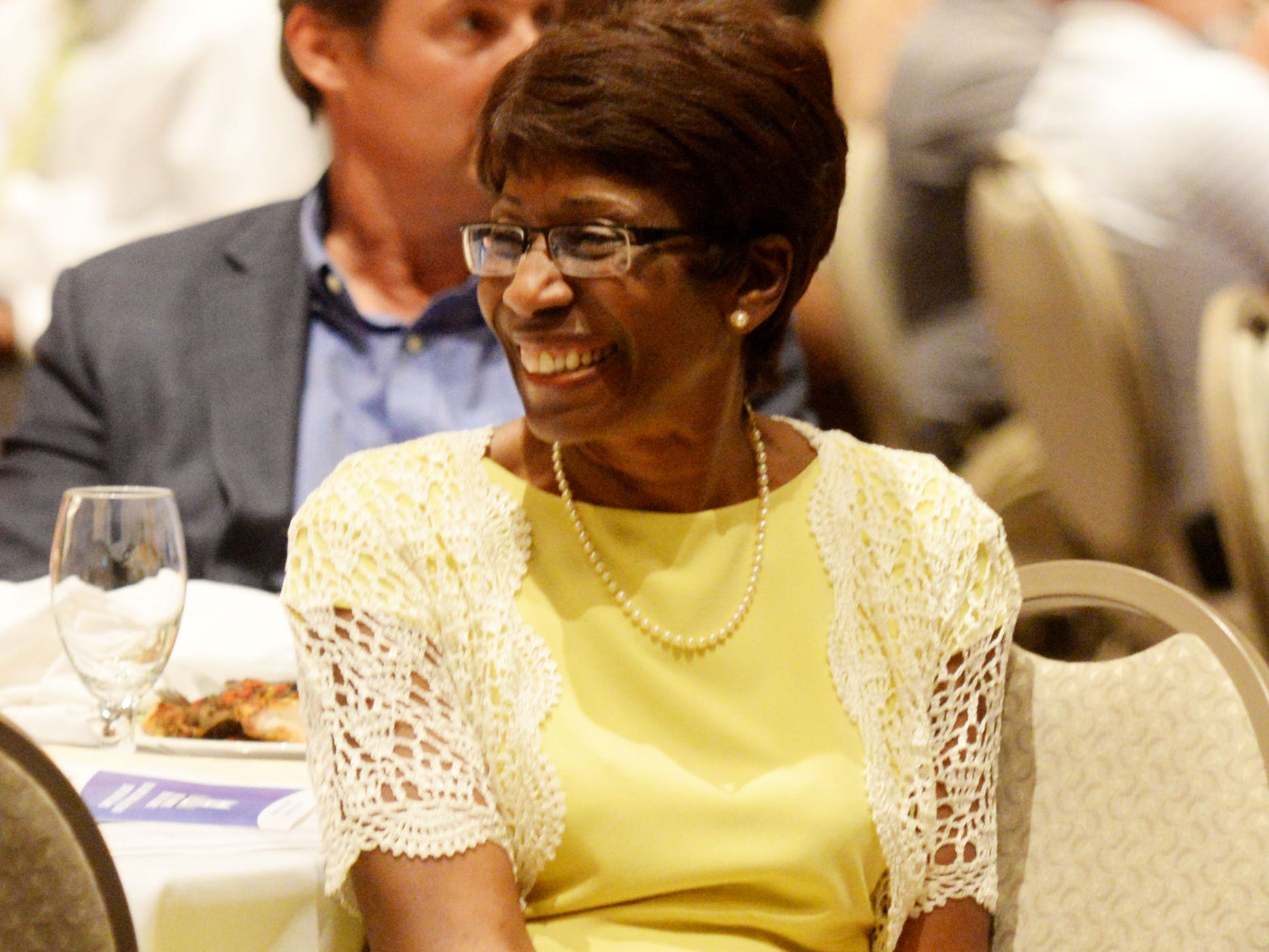 Shreveport Mayor Ollie Tyler smiles at the banquet Tuesday evening at the Shreveport Convention Center.