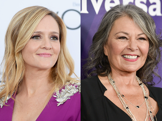 "People on social media are comparing Samantha Bee (left) and Roseanne Barr (right) after Bee called Ivanka Trump a vulgar insult on her 'Full Frontal' show Wednesday, the same day Barr's show 'Roseanne' was cancelled after she sent a ""racist"" tweet aimed at Obama advisor Valerie Jarrett."