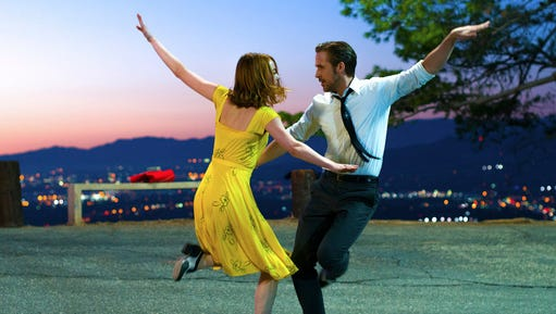 """This image released by Lionsgate shows Ryan Gosling, right, and Emma Stone in a scene from, """"La La Land."""" The film was nominated for an Oscar for best feature film. The 89th Academy Awards will take place on Feb. 26."""