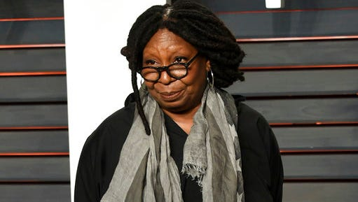 "FILE - This Feb. 28, 2016, file photo, shows Whoopi Goldberg at the Vanity Fair Oscar Party in Beverly Hills, Calif. The host of ABC's ""The View"" on Monday, March 13, 2017, condemned a story that circulated last week falsely claiming that she said Navy SEAL widow Carryn Owens appeared at President Donald Trump's speech before Congress for the ""attention."""