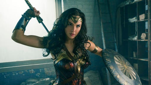 "This image released by Warner Bros. Entertainment shows Gal Gadot in a scene from ""Wonder Woman,"" playing in theaters."