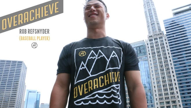 Yankees utility man Rob Refsnyder created the Overachieve t-shirt to benefit abused, neglected and abandoned children.