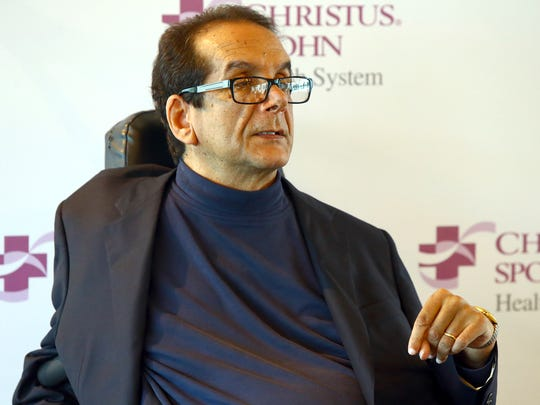 "In this March 31, 2015 file photo,  Charles Krauthammer talks about getting into politics during a news conference in Corpus Christi, Texas. The Fox News contributor and syndicated columnist says he has ""only a few weeks to live"" because of an aggressive form of cancer."