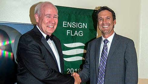 Christopher Christensen, CEO of Ensign Group, presented the award to Victoria Care Center.