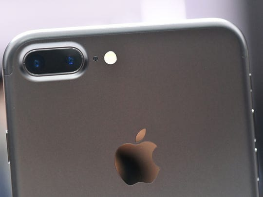 A closeup view of the iPhone 7 Plus' dual cameras during