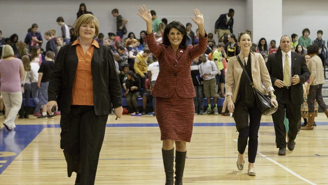 South Carolina Gov. Nikki Haley greets students at Leslie Stover Middle School in Elgin, S.C. on Friday.
