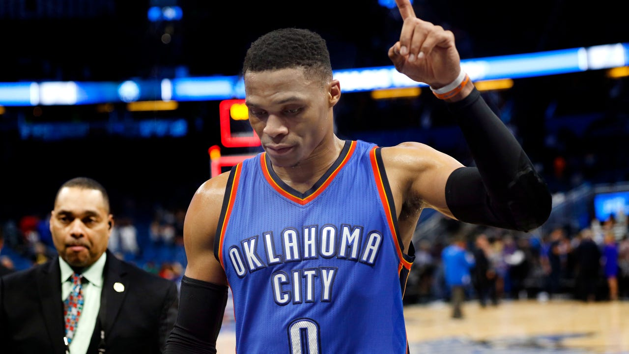 Russell Westbrook poured in 57 points for the most in a triple-double in NBA history. Westbrook added 13 rebounds and 11 assists to lead the Thunder to a big come-from-behind win over the Magic.