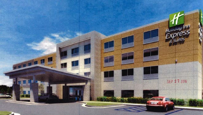 A rendering of the proposed four-story, 85-room Holiday Inn Express & Suites hotel planned at the corner of Nashville Pike and Davis Drive in Gallatin.