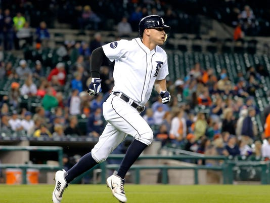 Detroit Tigers' JaCoby Jones rounds first base after hitting a solo home run against the Kansas City Royals during the seventh inning of a baseball game in Detroit, Tuesday, Sept. 5, 2017.(AP Photo/Paul Sancya)