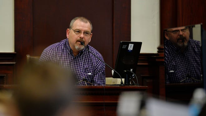 """Robert """"Buck"""" Back provides testimony, Tuesday, during the trial to determine liability for the head injury his son, Robert Back, Jr., suffered in the fall of 2014 while playing as a member of the Belt High School football team."""