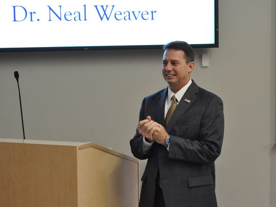 LSUA chancellor finalist Neal Weaver speaks Wednesday at a faculty forum.