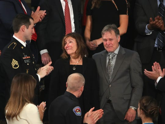 Parents of Otto Warmbier, Fred and Cindy Warmbier, were acknowledged during the State of the Union address in the chamber of the U.S. House of Representatives Jan. 30, 2018 in Washington, DC. It was the first State of the Union address given by President Donald Trump and his second joint-session address to Congress.