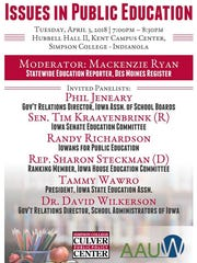 A forum on K-12 educational issues will be held Tuesday,
