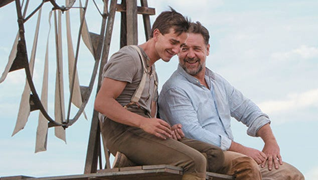 """Edward Connor (James Fraser) spends time with his father (Russell Crowe) before heading off to war in """"The Water Diviner."""""""