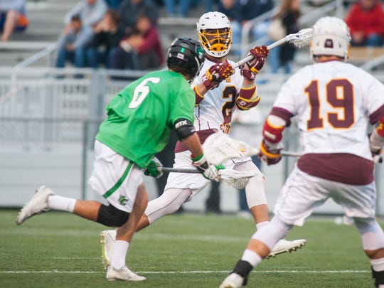 Salisbury midfielder Thomas Cirillo (2) looks to pass against York College in the regular season Capital Athletic Conference finale on Wednesday at Sea Gull Stadium.