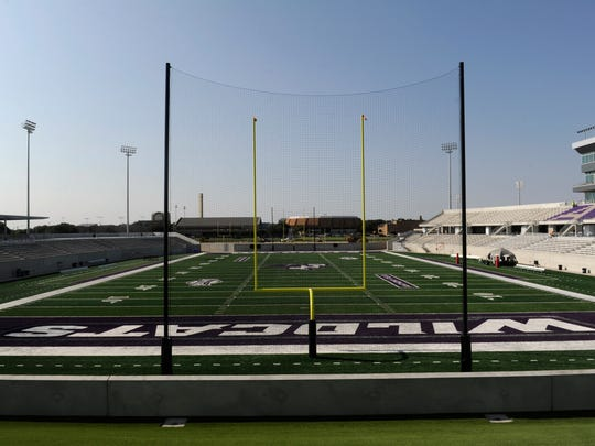 The view south from beneath the Wessel Scoreboard at Abilene Christian University's Wildcat Stadium Thursday Sept. 7, 2017.