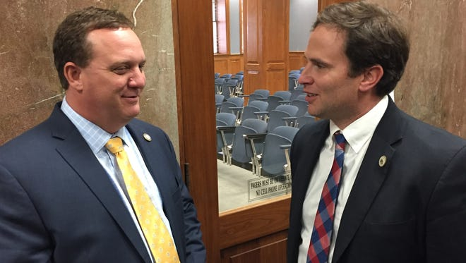 State rep. Tanner Magee, R-Houma (right), speaks with Kenny Havard, R-Jackson, in 2017.