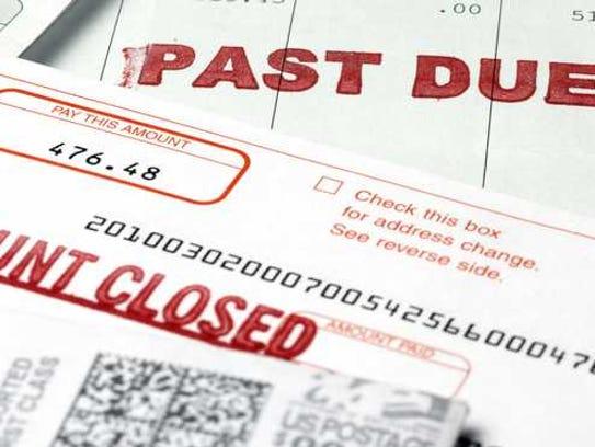 Debt past due account closed notice