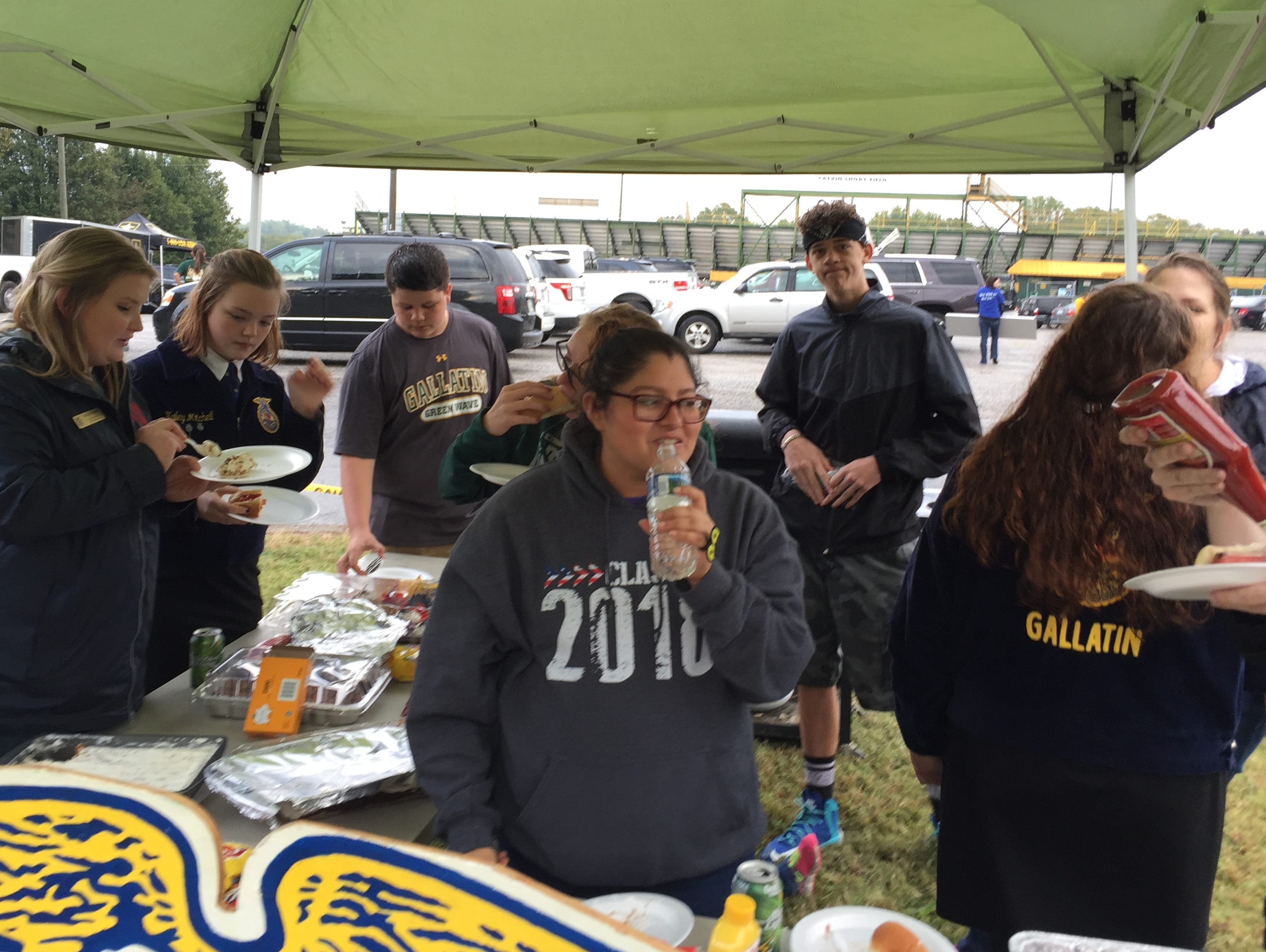 Members of the Gallatin High School Future Farmers of America chapter enjoy tailgating activities prior to their game against Beech on Friday, September 30, 2016.