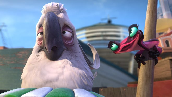 Kristen Chenoweth voices Gabi (right on pole) a small, poisonous frog in love with Nigel, the evil Cockatoo (voiced by Jemaine Clement) in the sequel 'Rio 2.'