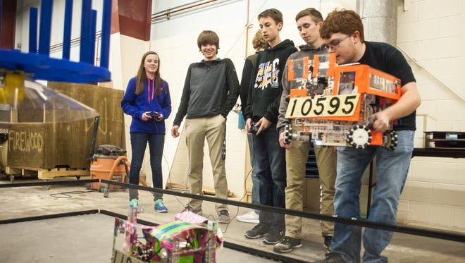 Great Falls Robotics students test their creations at Great Falls College MSU on Tuesday in preparation for the regional competition in Bozeman on Jan. 27.