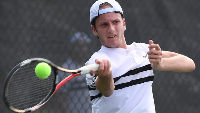 Trinity Christian Academy's Benjamin Sidwell helped his tennis team to a 4-1 championship win over L&N STEM in the 2018 TSSAA Small Class State Boys' Team Tennis Tournament Wednesday, May 23.