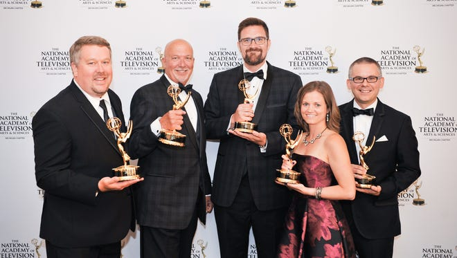 The crew from Destination Michigan that received an Emmy for the show. From left to right: Adam Miedema, Steve Smith, Matthew Ozanich, Stefanie Mills, and Livonia native Chris Ogozaly