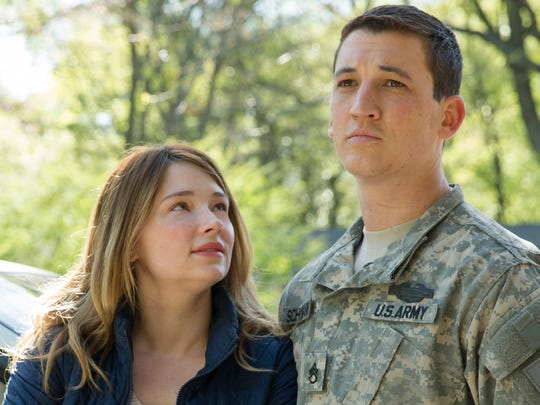 Adam (Miles Teller, right) returns after three tours in Iraq to his wife, Saskia (Haley Bennett), and two young kids.