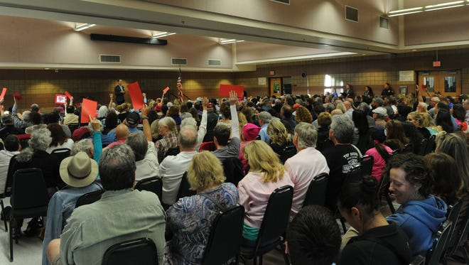 Rancho Santa Susana Community Center in Simi Valley is filled to capacity as U.S. Rep. Steve Knight, R-Lancaster, holds a Town Hall.